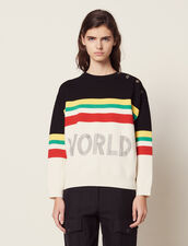 Multi-Coloured Striped Slogan Sweater : null color Black