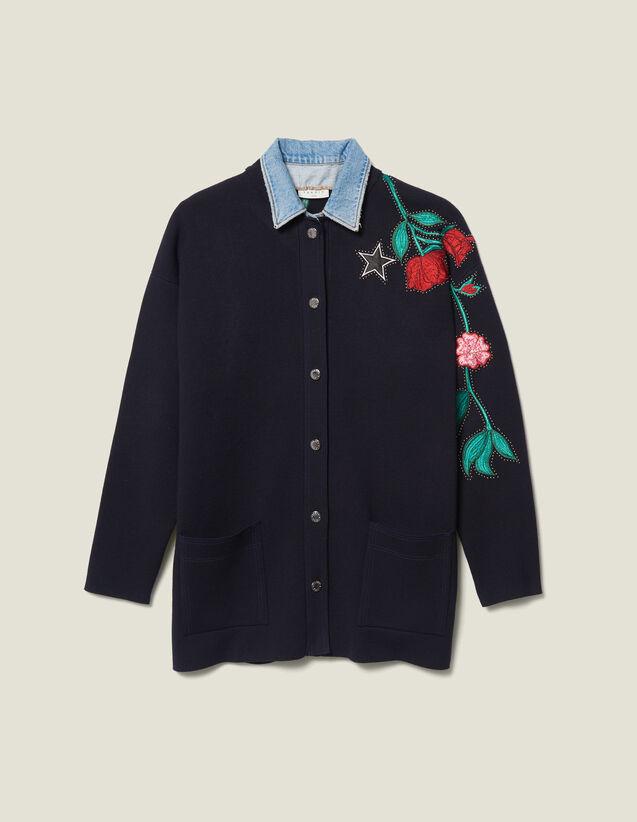 Embroidered cardi-coat with denim collar : LastChance-ES-F40 color Navy Blue