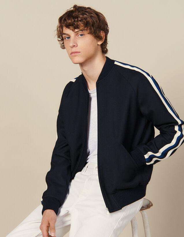 Varsity Jacket With Striped Braid Trim : Blazers & Jackets color Navy Blue