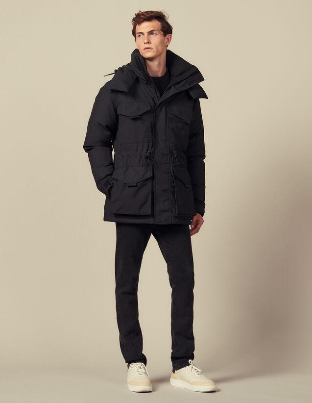 Mid-length down parka : Trench coats & Coats color Black