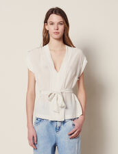 Silk V-Neck Top : null color Ecru