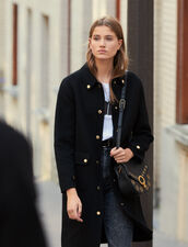 Wool Coat With Gold-Tone Press Studs : New In color Black