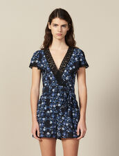 Short-Sleeved Printed Playsuit : null color Blue