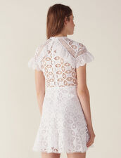 Ruffled Lace Dress : null color white