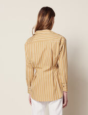 Long-Sleeved Striped Shirt : Printed shirt color Beige