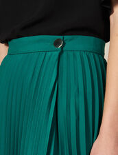 Wraparound Pleated Asymmetric Skirt : null color Green