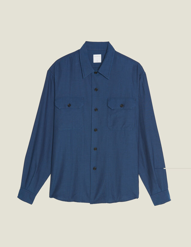 Flowing Herringbone Fabric Shirt : Shirts color Blue