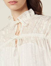 Flowing Blouse With Fine Lurex Stripes : null color Ecru