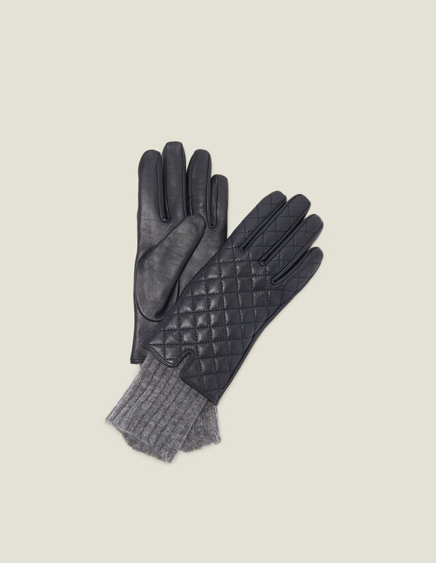 Quilted Leather Gloves : All Winter collection color Black