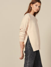 Bead-embroidered sweater with a vent : LastChance-ES-F30 color Beige