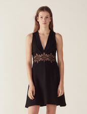 Short Dress With Lace Inset : null color Black