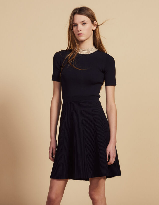 Short Knit Dress With Jewelled Collar : Dresses color Black