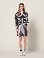 Short Striped Dress With V-Neck : null color Black