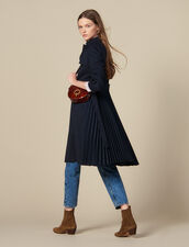 Trench coat with pleated inset : Coats color Navy Blue