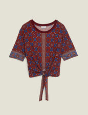 Printed T-Shirt With Tie Fastening : LastChance-FR-FSelection color Bordeaux