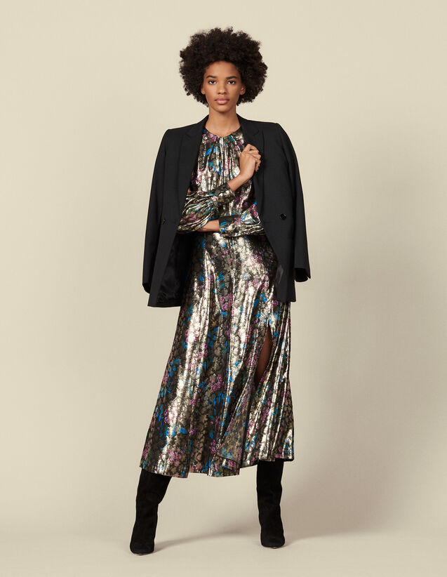 Long lurex jacquard dress : Dresses color Multi-Color