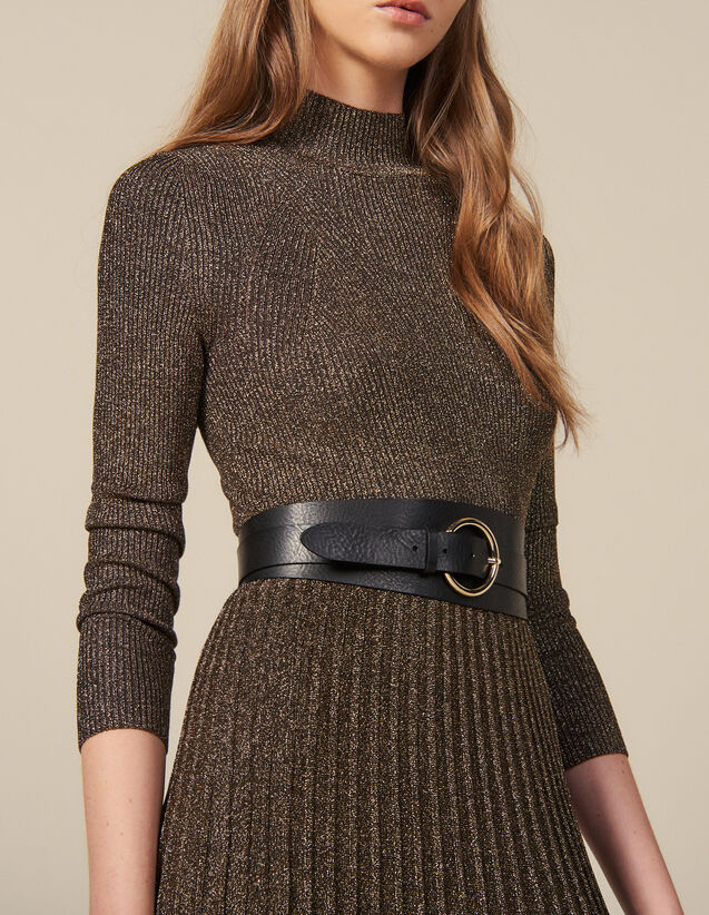 Double loop leather belt : Best of the season color Black