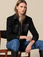 Tweed jacket with leather trim : LastChance-ES-F40 color Black