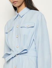 Shirt dress with decorative buttons : Dresses color Blue sky