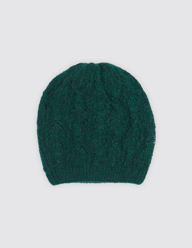 5476197637f Lurex knit beanie AC2221H Green - All our accessories