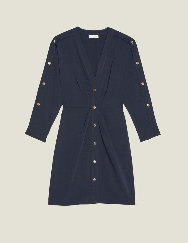 Short Dress With Gold-Tone Press Studs : FBlackFriday-FR-FSelection-30 color Navy Blue
