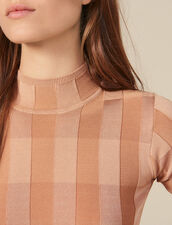 Short-Sleeved Funnel Neck Sweater : LastChance-ES-F50 color Nude