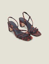 Leopard print fabric sandal : All Shoes color Orange leopard