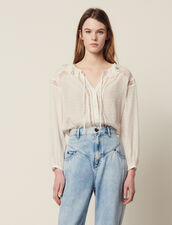 Flowing Blouse With Lace Trims : null color Ecru