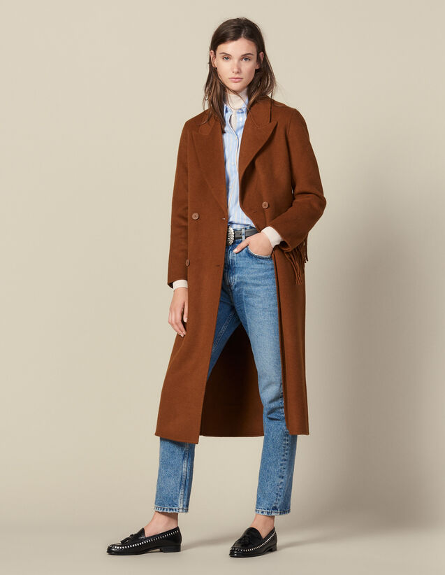 Long Fringed Coat In Double Faced Wool : FBlackFriday-FR-FSelection-30 color Light Brown