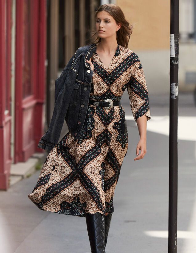 Low-Neck Midi Dress With Block  Print : Dresses color Black