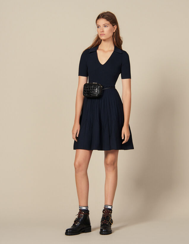 Knit dress with shirt collar : Copy of VP-FR-FSelection-Robes color Navy Blue