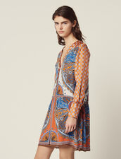 Short Printed Dress With Buttons : null color Multi-Color