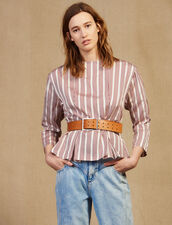 Long-Sleeved Striped Top : null color Bordeaux