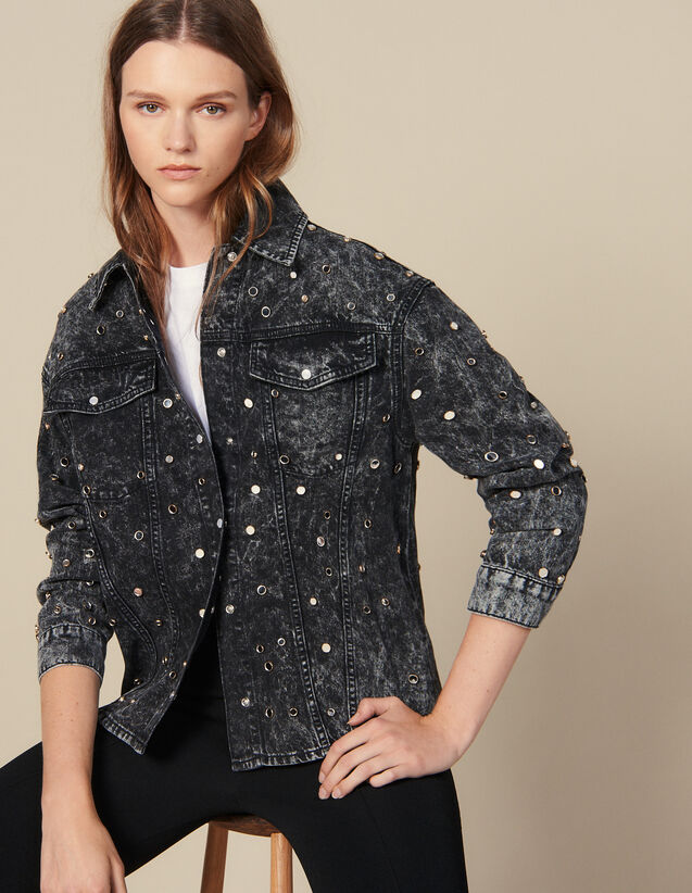 Denim Shirt Trimmed With Studs : LastChance-ES-F50 color Black