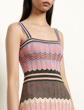 Knit dress with stripes : Dresses color Pink / Khaki
