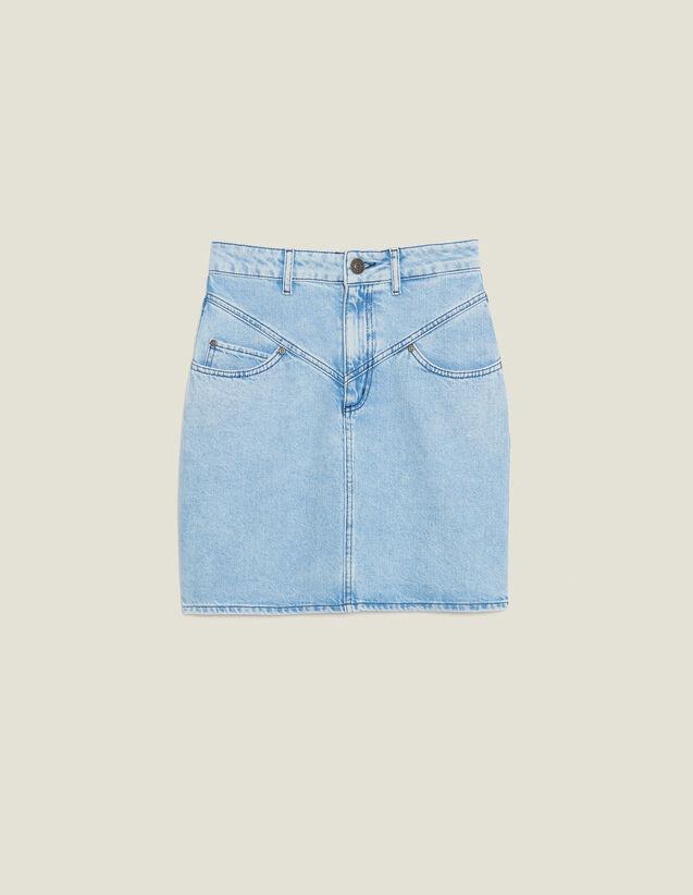 Short Denim Skirt With Topstitching : Skirts & Shorts color Blue Vintage - Denim