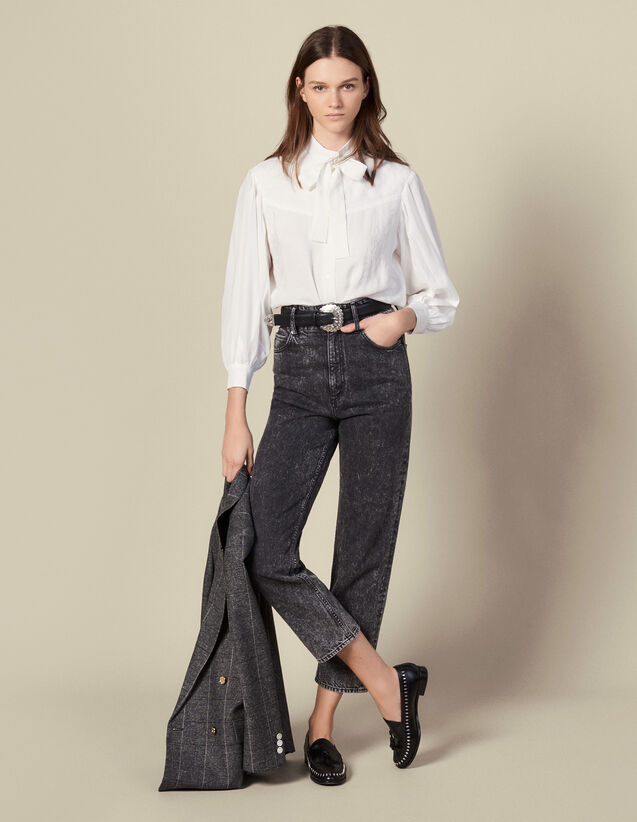 Jacquard blouse with pussy bow collar : Tops & Shirts color Ecru