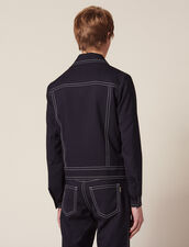 Jacket With Contrasting Topstitching : Blazers & Jackets color Navy Blue