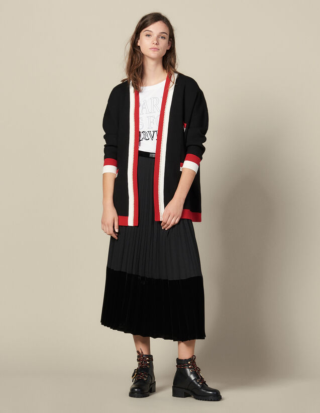 Cardicoat With Contrasting Stripes : Sweaters & Cardigans color Black