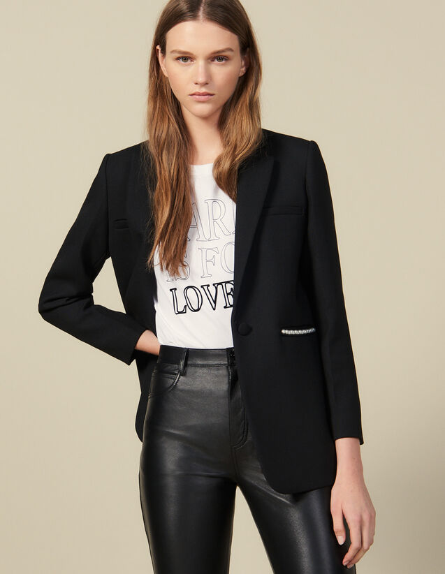 Blazer Jacket Embellished With Beads : Blazers & Jackets color Black