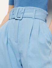 Wide-leg trousers with a belt : Pants color Blue sky