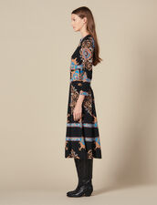 Long dress with block scarf print : LastChance-ES-F40 color Black