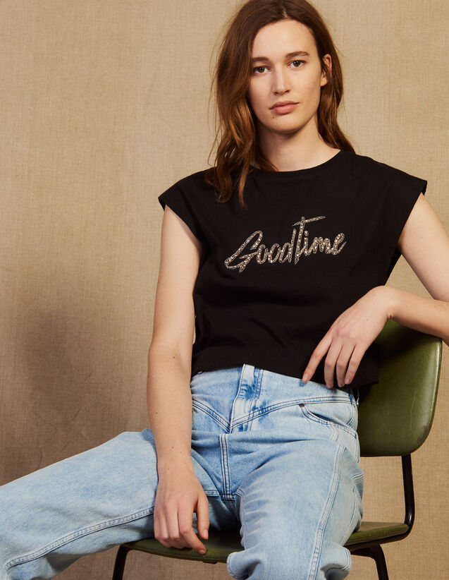 Cropped T-Shirt With Beaded Lettering : T-shirts color Black