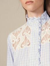 High-collar checked shirt : Tops & Shirts color Ecru