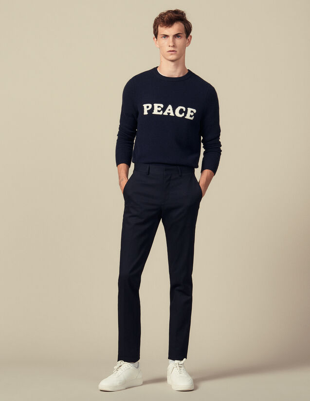 Slim-Fit Stretch Trousers : Pants & Shorts color Navy Blue