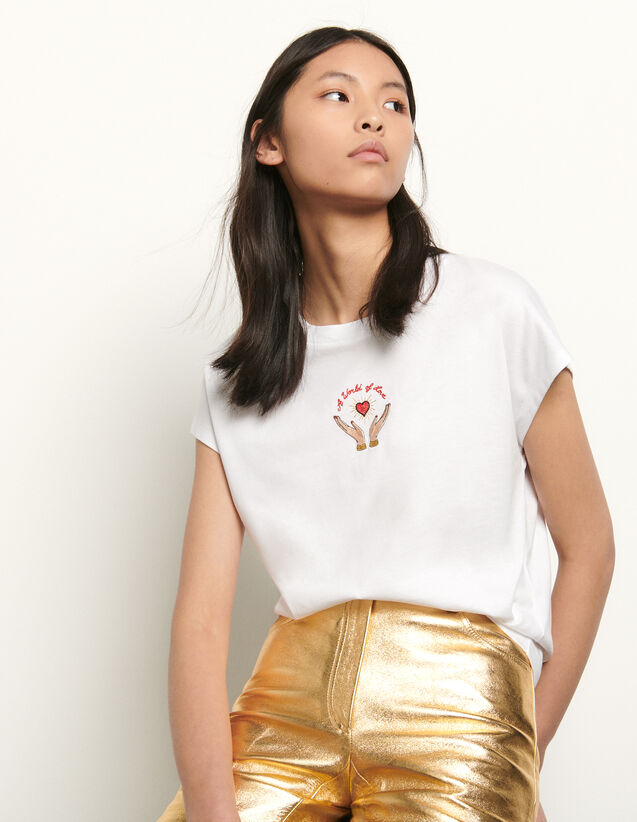 Embroidered sleeveless T-shirt : Summer Collection color white