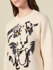 Sweater with jacquard tiger motif : Sweaters & Cardigans color Ecru