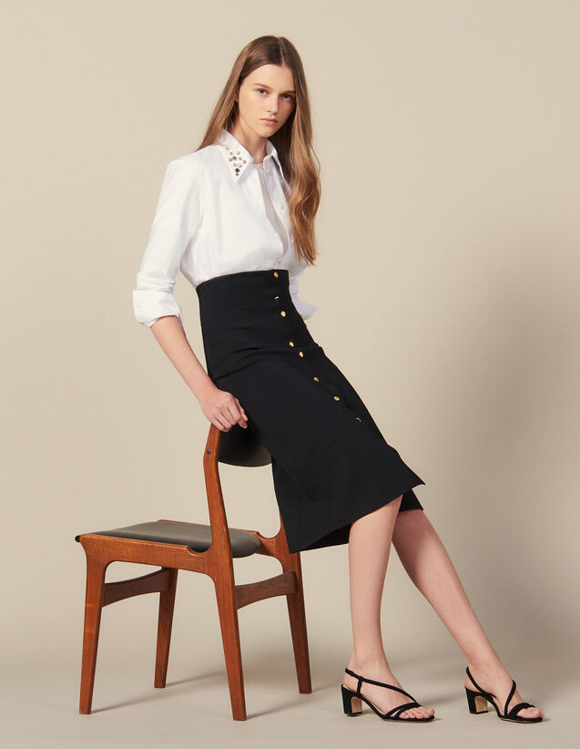 Long, Figure-Hugging Knit Skirt : Skirts & Shorts color Black