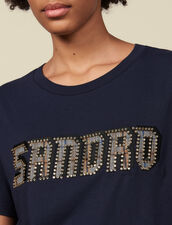 T-shirt lettering trimmed with studs : T-shirts color Navy Blue