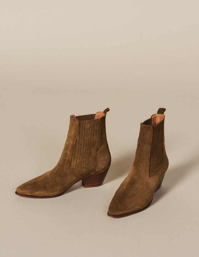 Leather ankle boots with elastic : All Shoes color Olive Green